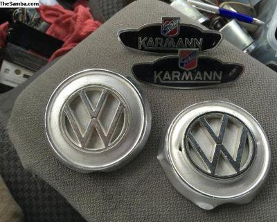 karmann ghia lot 2 emblems 2 hood nose ornaments