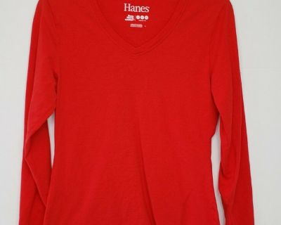 HANES LONG SLEEVE V-NECK T-SHIRT * RED * SMALL