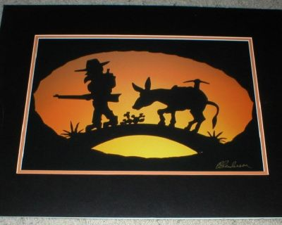 The Prospector Silhouette Print w/ Original Signature - Matted Unframed - South West Art