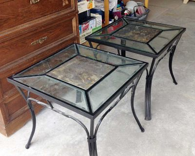 Iron and Glass Side Tables (Set of 2)