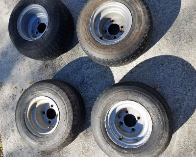 4 used Golf cart rims and tires