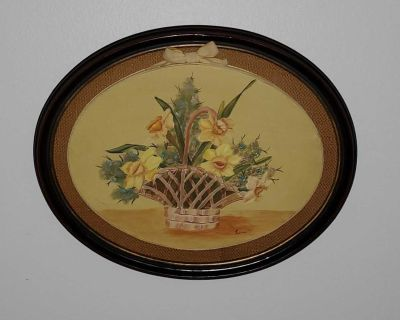 Acrylic Flowerbasket Painting in Oval Wooden Frame
