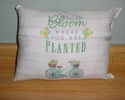 New Stylish Homemade Bloom Where You Are Planted Vintage Bicycle Floral Accents Throw Pillow. Purchased From A Craft Show. $5