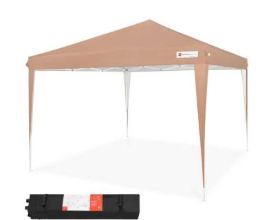 NEW - IN-BOX - 10x10 TAN OUTDOOR POP-UP CANOPY TENT W/CARRYING CASE