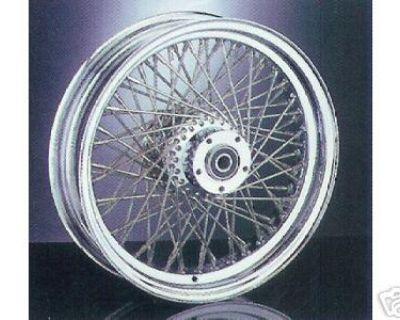 Stainless 80 Spoke / Chrome Billet Hub Harley Wheel Set