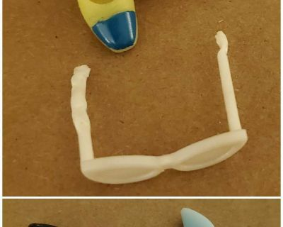 Doll shoes, sandals, and sunglasses (arched foot)