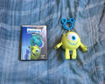 Lot Of Disney Monsters, Inc DVD And Plush Toy