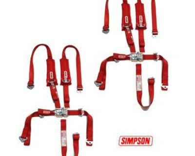 2 Polaris Rzr Xp Simpson 5 Pnt H Harness Seat Belts Latch & Link 2x2 W/ Pads Red