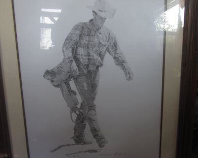 MARK IRONS Cowboy Western Rodeo signed/numbered litho print