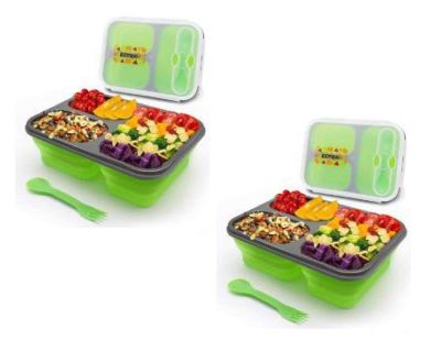 Two 3-Compartment Silicone Collapsible Bento Lunch Box Kit-BPA Free, Safe in Microwave, Dishwasher & Freezer