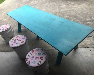 Craft table with storage bin stools see listing