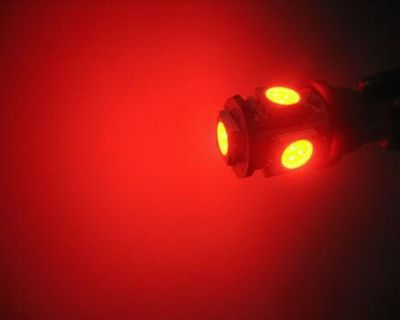 10x 5smd Ba9s Led Light Bulbs Red 1445 64111 Map Dome Reading License Plate Lamp