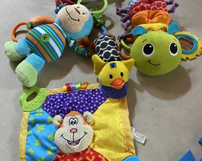 Baby mixed toy lot car seat etc/ teething toy