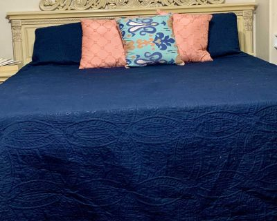 cal king bed frame and rails, 2 night stands and dresser with mirror.