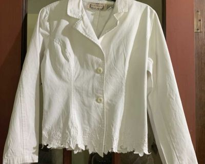 Ladies sz med. white jean jacket with flowers