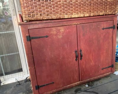 Custom made-large heavy wood red Cabinet