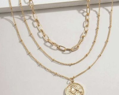 New 3 coin necklace set