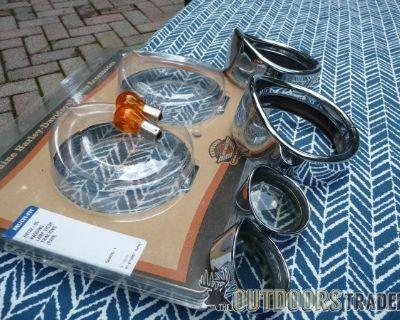 FS Harley Passing Lamp Visor Trim Rings and rear rings
