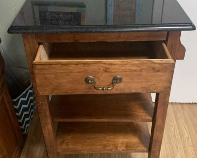 Kitchen Island on wheels made of wood and granite countertop $85 OBO
