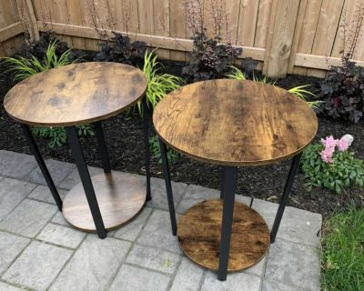 Two round side tables