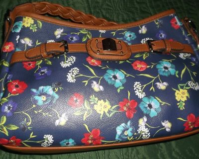 rosetti navy floral leather hobo hand bag