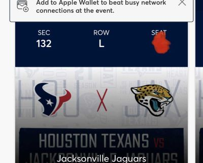 Two Texans tickets to this Sunday s opener.