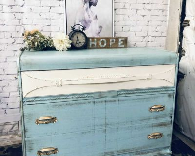 """ANTIQUE Buffet/Storage/Dresser-44""""x35""""x21""""-refinished turquoise/white/Wood-180$ Laval"""