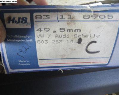 NOS German 49.5mm Muffler Clamps