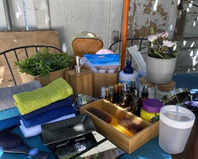 Amber Glass Bottles, Bamboo Organizers, Faux Plants