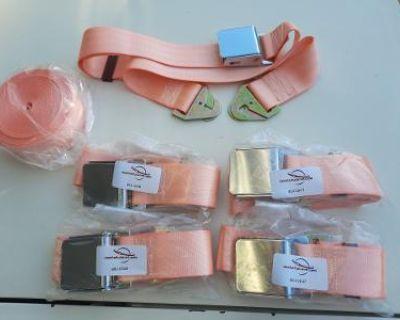 Seat Belts w/Chrome Latch 5 Belts Coral
