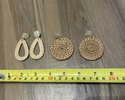 Two pair of woven earrings