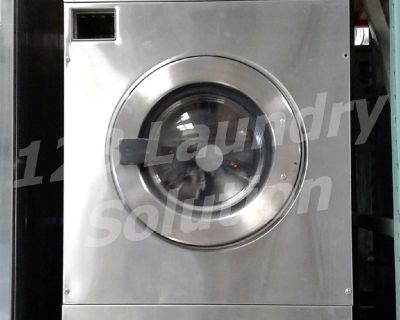 Fair Condition Maytag Front Load Washer Coin Op 25LB MFR25PDAVS 3PH Stainless Steel Finish Used