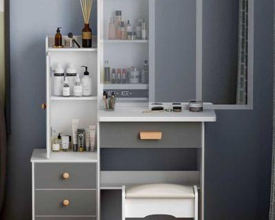 Vanity Set Makeup Vanity with Sliding Mirror & 4 Drawers,