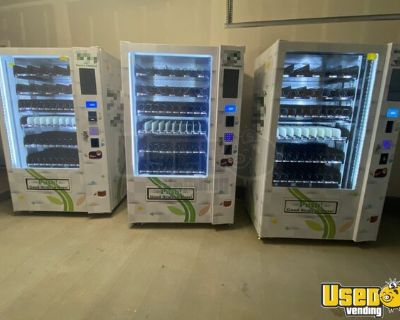 (3) 2019 Natural MVP1000 Snack and Drink Combo Vending Machines,