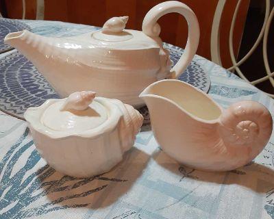 5pc Vintage Handcrafted Otagiri Japan, Seashell Teapot, Creamer & Sugar Bowl Set.