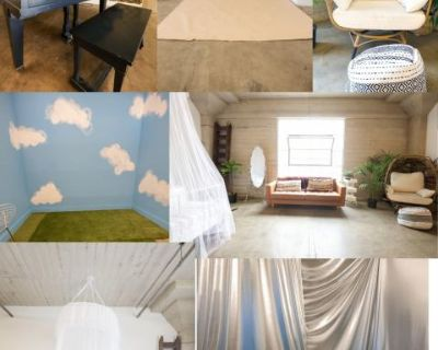 Downtown Boho Studio - All Props included. Backdrops, BED, Piano, Sky wall, Metallic wall, Los Angeles, CA