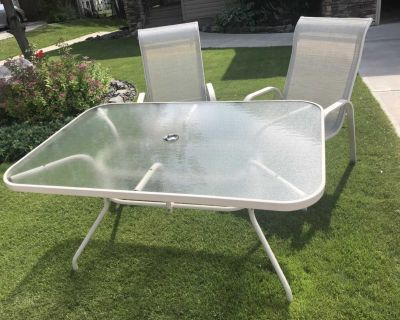 Free glass patio table and chairs