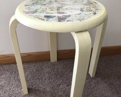 Distressed map side table