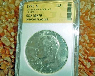 1971 S, 1972 S, 1973 S and 1974 S EISENHOWER SILVER DOLLAR SET SGS CERTIFICATION MS70