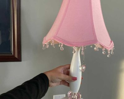 Pink lamp with crystals and new bulb