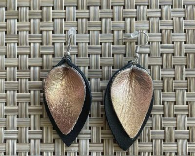 Leather Leaf Earrings- from Lila Boutique