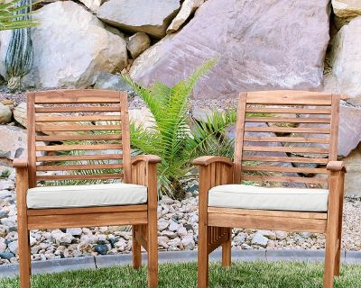 Walker Edison Rendezvous Modern 2 Piece Solid Acacia Wood Slat Back Outdoor Dining Chairs, Set o...