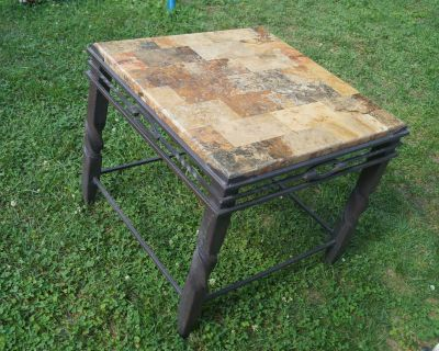 Metal Framed Side Table with Slate Top
