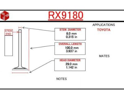Engine Exhaust Valve Itm Rx9180 Fits 74-79 Toyota Corolla Starlet 1.2l-l4