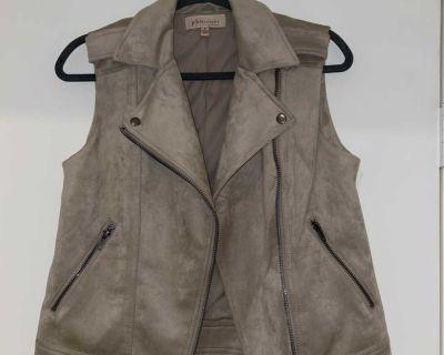 Cream/ Gray Vest (faux leather)