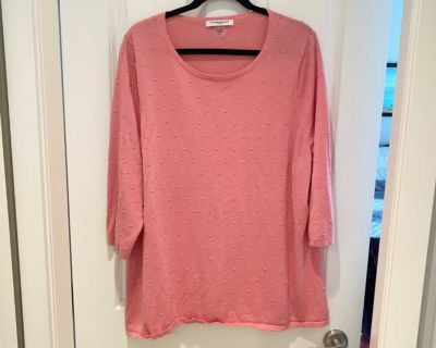 Alison Daly Plus Pink Cotton Tunic Sweater size 3X