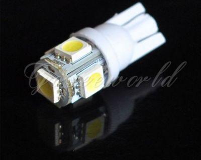 10x5 Smd Led 501 T10 W5w Push Wedge Capless White Side Light Bulbs 5000k 6000k 2
