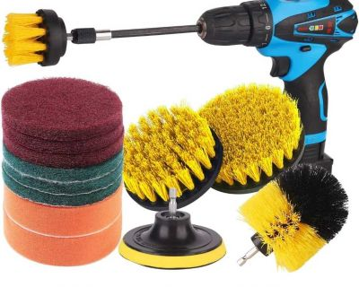 """15 Pcs Drill Brush Set with Extend Attachment Power Scrubber Brush Cleaning Kit. Condition is """"New"""". Poms"""