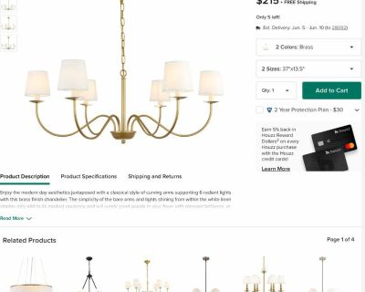 Brass Finish And White Shade 6-Light Chandelier