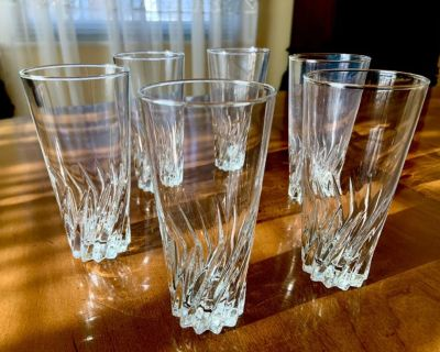 """6- Twisted Base 5"""" Juice Glasses"""